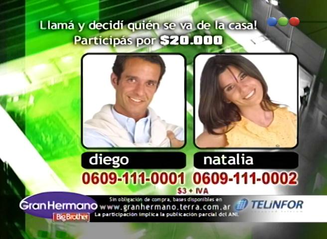 Diego Torales y Natalia Quintiliano Nominados Gran Hermano 3 Argentina
