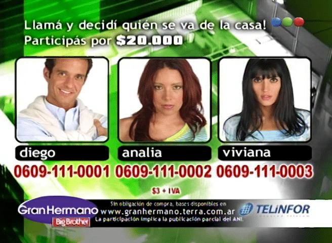 Viviana Colmenero, Diego Torales y Analía Barrios Nominados Gran Hermano 3
