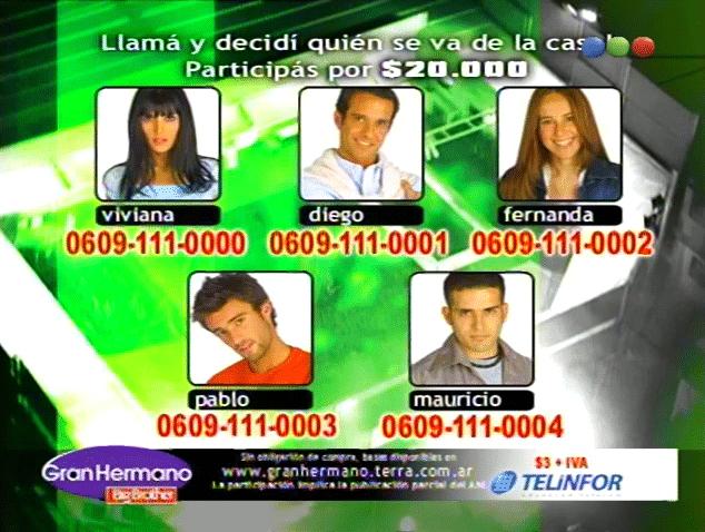 Viviana, Mauricio, Pablo, Diego y Fernanda Nominados Gran Hermano 3 Argentina