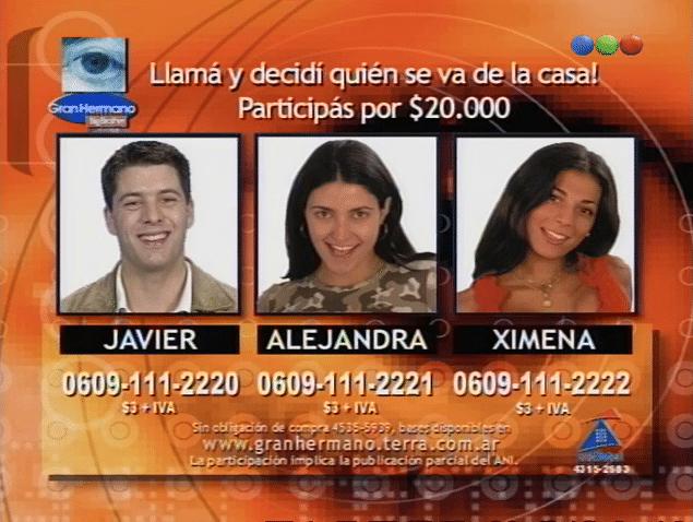 Alejandra Martínez, Javier Aureano y Ximena Capristo Nominados Gran Hermano 2 Argentina