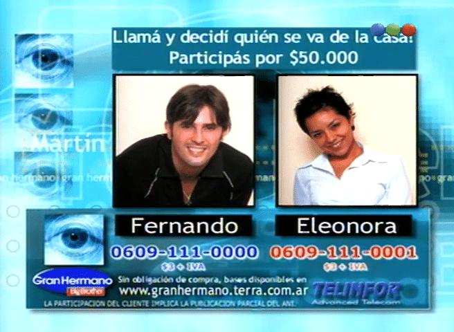 Fernando Navarro y Eleonora González Nominados Gran Hermano 1 Argentina