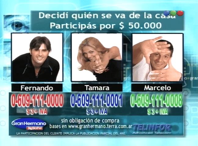 Marcelo Corazza, Tamara Paganini y Fernando Navarro Nominados Gran Hermano 1 Argentina