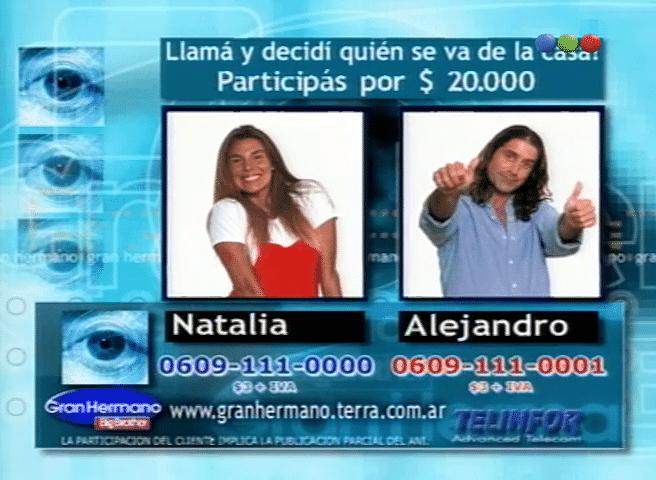 Natalia Fava y Alejandro Restuccia nominados Gran Hermano 1 Argentina