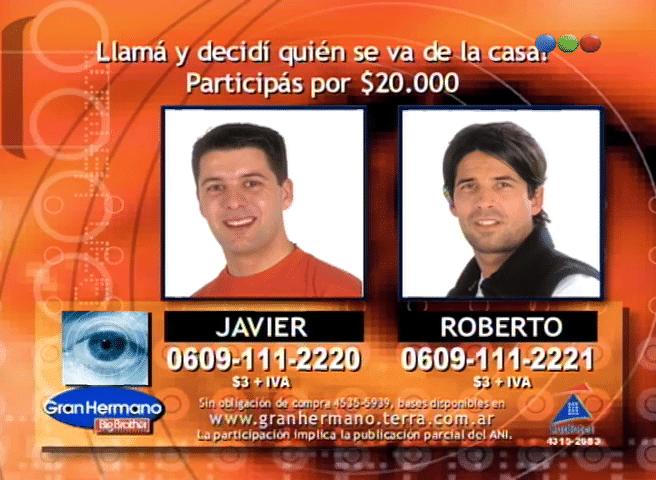 Roberto Parra y Javier Aureano Nominados Gran Hermano 2 Argentina