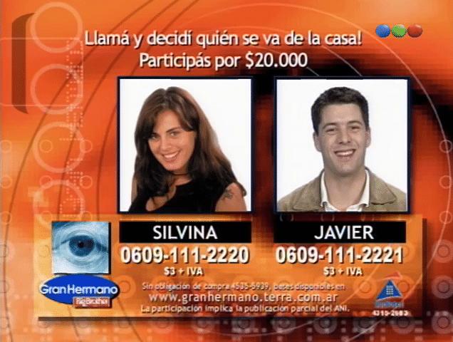Javier y Silvina nominados Gran Hermano 2 Argentina